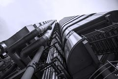 Lloyds Building, London United Kingdom. London, United Kingdom - Dec 30th 2017: View looking upwards at the Lloyd`s Building in London`s Financial District Stock Images