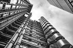 Lloyds Building, London United Kingdom. London, United Kingdom - Dec 30th 2017: View looking upwards at the Lloyd`s Building in London`s Financial District Royalty Free Stock Images