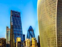 Lloyds byggnad, Cheesegrater, ättiksgurka och Walkie Talkie London Arkivbild