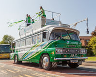 LloydsTSB Olympic Torch Bus. The LloydsTSB Olympic Torch Relay Bus in Convoy in Connah's Quay, North Wales Royalty Free Stock Photo