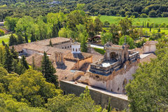 Lluc Monastery, Mallorca. A view of the famous Lluc Monastery - Santuari de Lluc,  taken from above. Situated in the Serra de Tramuntana mountains,  this Royalty Free Stock Image