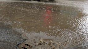 Llueva caer en el camino, atravesando el dren de la alcantarilla Impulsión de los coches en una manera inundada almacen de metraje de vídeo