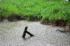 Llueva el descenso en el agua con el vintage de madera en canal, como naturaleza Fotografía de archivo