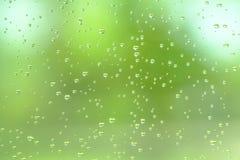 Llueva el descenso en el espejo con la luz natural verde Foto de archivo
