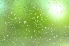 Llueva el descenso en el espejo con la luz natural verde Foto de archivo libre de regalías