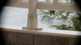 Llueva en el balcón que pasa por alto el mar en una ilustración 2 metrajes