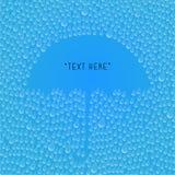 Llueva los descensos con el espacio del paraguas para su concepto del texto stock de ilustración