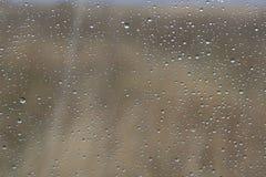 Llueva los descensos sobre el vidrio con el fondo natural fuera de la ventana Imágenes de archivo libres de regalías
