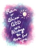 Llueva o truene dios será siempre aquí para usted caligrafía dibujada mano Fotografía de archivo