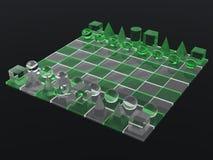lluminous шахмат доски стеклянное зеленое Стоковое Изображение