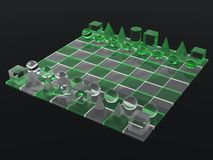 Lluminous green glass chess board Stock Image