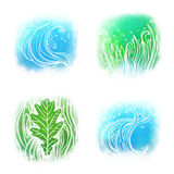 Llustrated icon set of waves an grass symbols. Isolated on white vector illustration