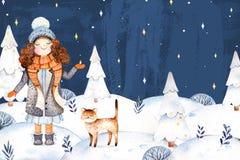 Llustration με ένα χαριτωμένο κορίτσι σε ένα παλτό, ένα μαντίλι, ένα καπέλο και την μαλλιού λίγο φίλος-χαριτωμένο γατάκι ελεύθερη απεικόνιση δικαιώματος