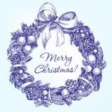 Llustration вектора венка рождества нарисованное рукой Стоковые Фотографии RF