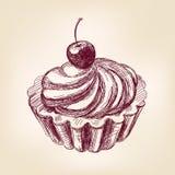 Llustration вектора пирожного вишни нарисованное рукой Стоковое Изображение