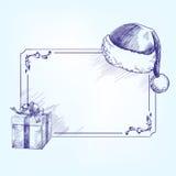 Llustration вектора рождественской открытки нарисованное рукой Стоковая Фотография