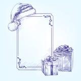 Llustration вектора рождественской открытки нарисованное рукой Стоковое Изображение RF