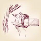 Llustration вектора Videographer нарисованное рукой Стоковое Изображение