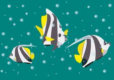 Llustration with angel fishes on the background of the sea depths and bubbles stock illustration