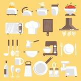 Llustration av kökhjälpmedel, ware och redskap royaltyfri illustrationer