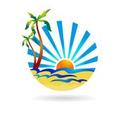Beach logo vector illustration. Llustration of beach logo design isolated on white background with vector source file royalty free illustration