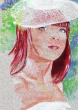 Llustration of beautiful bride realistic watercolor portrait Royalty Free Stock Image