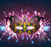 Llustration of a carnival mask Mardi Gras with fireworks. Stock Images