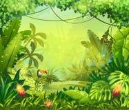 Llustration con las flores y el tucán de la selva ilustración del vector