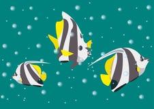 Llustration con los pescados del ángel en el fondo de las profundidades y de las burbujas del mar stock de ilustración