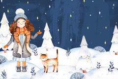 Llustration with a cute girl in a wool coat,scarf,hat and her little friend-cute kitten. Christmas and New Year collection.Watercolor handpainted illustration Royalty Free Stock Photo