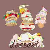 Llustration de tres tortas fantásticas con el postre Foto de archivo
