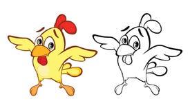 Llustration de vecteur d'un petit personnage de dessin animé mignon de poulet Livre de coloration illustration de vecteur