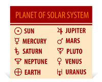 Llustration der verschiedenen astrologischen Symbole Stockfotos