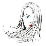 Llustration disegnato a mano di vettore del bello fronte della donna Fotografie Stock Libere da Diritti