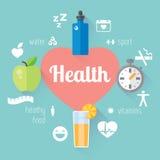 Llustration e informação-gráfico saudáveis do estilo de vida Alimento, água, esporte Fotos de Stock Royalty Free
