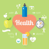 Llustration e informação-gráfico saudáveis do estilo de vida Alimento, água, esporte Imagens de Stock