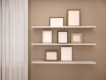іllustration of empty frames on the shelves in the room near Stock Photography