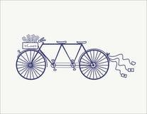 Llustration en tándem del icono del vector de la bicicleta del vintage de la boda aislado Fotos de archivo libres de regalías