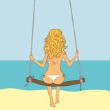 Llustration of the girl on a swing Stock Photos