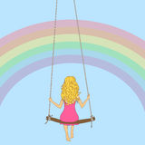 Llustration of the girl on a swing Royalty Free Stock Images