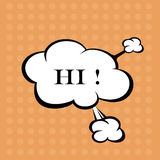 Llustration Hello in comic stile, on cloud Stock Photography