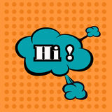 Llustration Hello in comic stile, on cloud Royalty Free Stock Photos