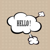 Llustration Hello in comic stile, on cloud Stock Photos