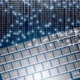 Llustration of high tech keyboard with binary numb Stock Photo