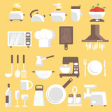 Llustration of kitchen tools, ware and utensils. Royalty Free Stock Photo