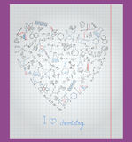 Llustration with notebook paper with icons on the theme of chemistry are arranged in the shape of a heart. The notebook sheet in a cage with painted icons on the Royalty Free Stock Images