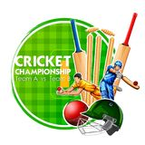 Player bat, ball and helmet on cricket sports background Royalty Free Stock Photography