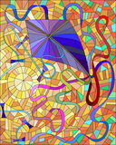 Llustration with purple kite against an orange sky and sun. Purple kite with colorful ribbons in the sun and orange sky in the stained glass style Royalty Free Stock Image