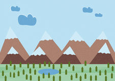 Llustration of small pines and mountains. Illustration of small pines and mountains with lake stock illustration