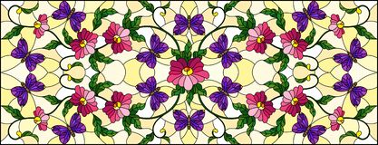 Stained glass illustration with abstract curly pink flower and a purple butterfly on yellow background , horizontal image. Llustration in stained glass style vector illustration